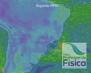 Windyty para as fontes eólicas. Segunda-feira - Ventos na baixa atmosfera