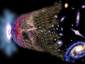 Infográfico sobre cosmologia. Desde o big bang a formação de estruturas.