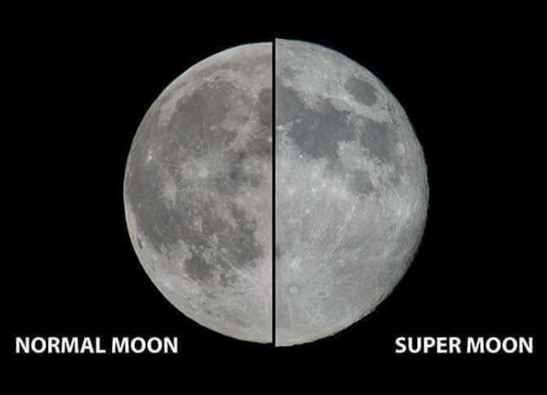 Comparação da super lua versus uma lua normal